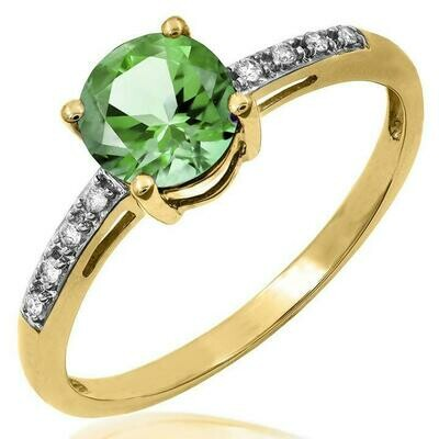 Peridot Ring with Diamond Accent Yellow Gold