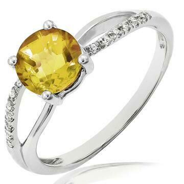 Citrine Ring with Diamond Accent and Split Shoulders White Gold