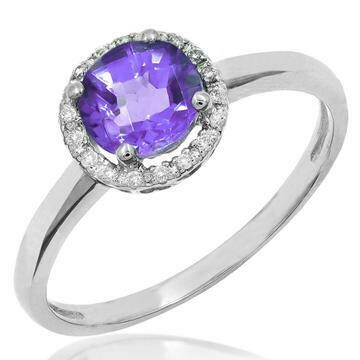 Amethyst Ring with Diamond Halo 14KT Gold