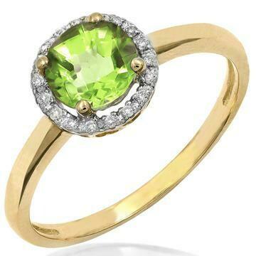 Peridot Ring with Diamond Frame Yellow Gold