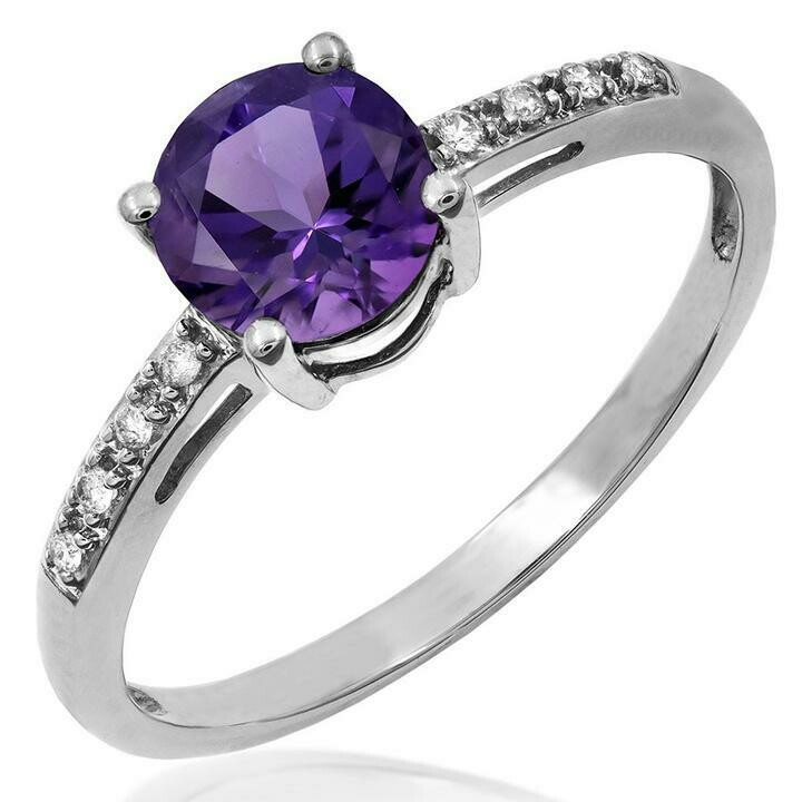 Amethyst Ring with Diamond Accent White Gold