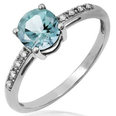 Aquamarine Ring with Diamond Accent White Gold
