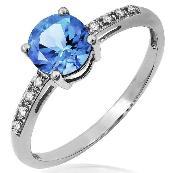 Blue Topaz Ring with Diamond Accent White Gold