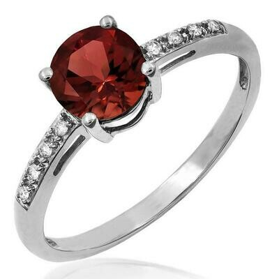 Garnet Ring with Diamond Accent White Gold