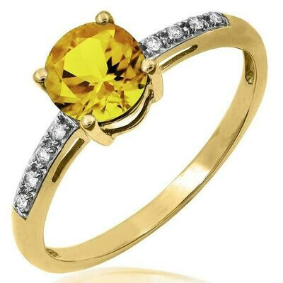 Citrine Ring with Diamond Accent Yellow Gold
