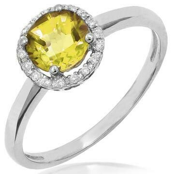 Citrine Ring with Diamond Halo 14KT Gold