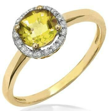 Citrine Ring with Diamond Frame Yellow Gold