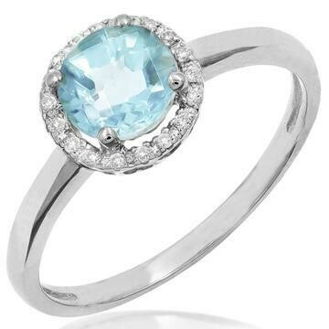 Aquarmarine Ring with Diamond Halo 14KT Gold