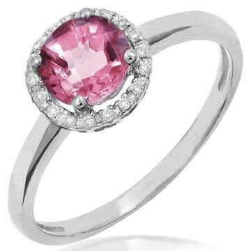 Pink Topaz Ring with Diamond Halo 14KT Gold