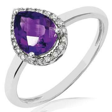 Amethyst Teardrop Ring with Diamond Frame White Gold