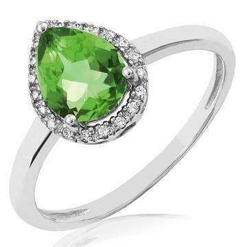 Peridot Teardrop Ring with Diamond Halo 14KT Gold