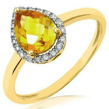 Citrine Teardrop Ring with Diamond Frame Yellow Gold