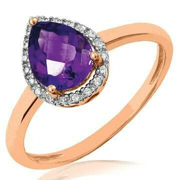 Amethyst Teardrop Ring with Diamond Frame Rose Gold