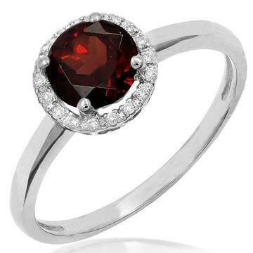 Garnet Ring with Diamond Halo 14KT Gold