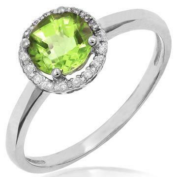 Peridot Ring with Diamond Halo 14KT Gold