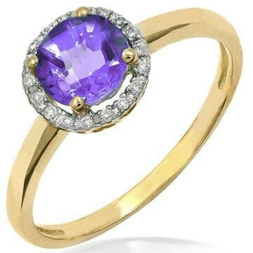 Amethyst Ring with Diamond Frame Yellow Gold