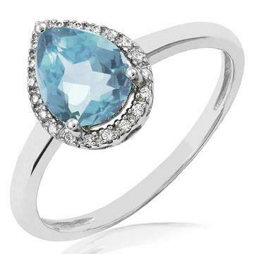 Aquamarine Teardrop Ring with Diamond Halo 14KT Gold
