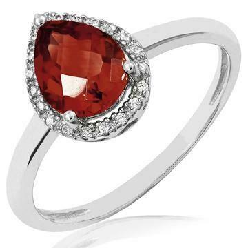 Garnet teardrop Ring with Diamond Halo 14KT Gold