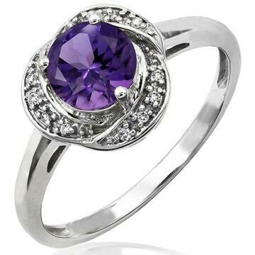 Amethyst Ring with Diamond Whirl Halo 14KT Gold