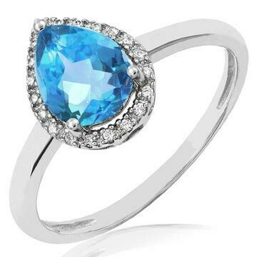 Blue Topaz teardrop Ring with Diamond Halo 14KT Gold