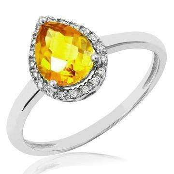 Citrine Teardrop Ring with Diamond Halo 14KT Gold