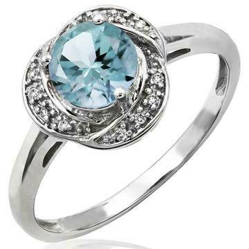 Aquamarine Whirl Ring with Diamond Frame White Gold