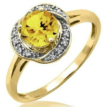 Citrine Whirl Ring with Diamond Frame Yellow Gold