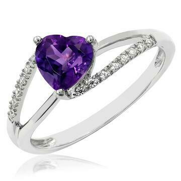 Heart Amethyst Ring with Diamond Accent White Gold