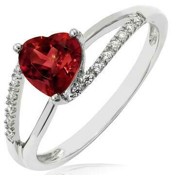 Heart Garnet Ring with Diamond Accent and Split Shoulders 14KT Gold