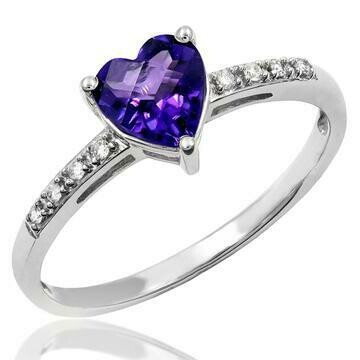 Heart Amethyst Ring with Diamond Accent 14KT Gold