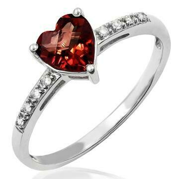 Heart Garnet Ring with Diamond Accent 14KT Gold