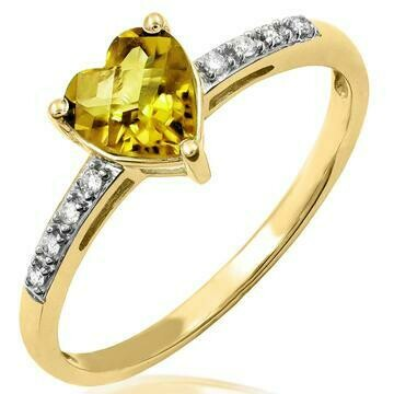 Heart Citrine Ring with Diamond Accent Yellow Gold