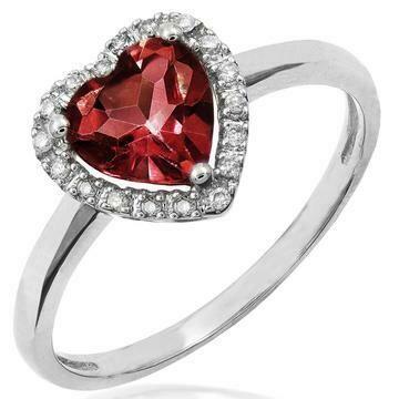Heart Garnet Ring with Diamond Halo 14KT Gold