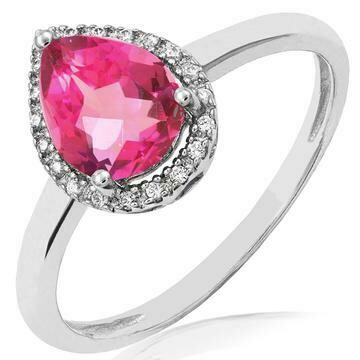 Pink Topaz Teardrop Ring with Diamond Halo 14KT Gold