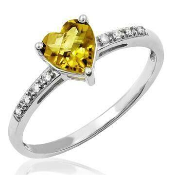 Heart Citrine Ring with Diamond Accent White Gold