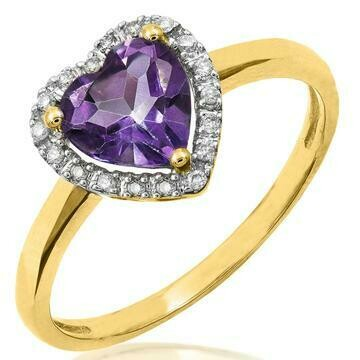 Heart Amethyst Ring with Diamond Frame Yellow Gold