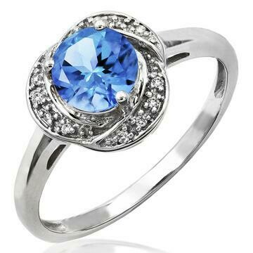 Blue Topaz Ring with Diamond Whirl Halo 14KT Gold