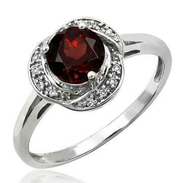 Garnet Ring with Diamond Whirl Halo 14KT Gold