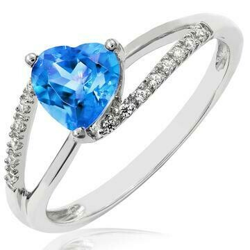 Heart Blue Topaz Ring with Diamond Accent and Split Shoulders 14KT Gold