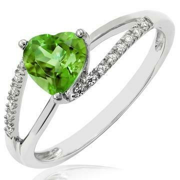 Heart Peridot Ring with Diamond Accent and Split Shoulders 14KT Gold
