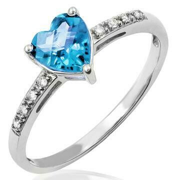Heart Blue Topaz Ring with Diamond Accent 14KT Gold