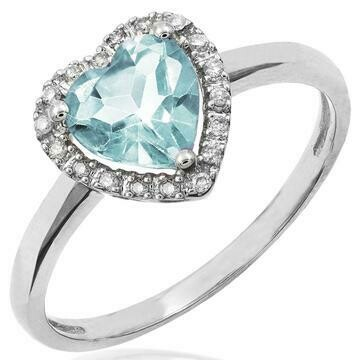 Heart Aquamarine Ring with Diamond Frame White Gold