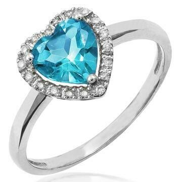 Heart Blue Topaz Ring with Diamond Halo 14KT Gold