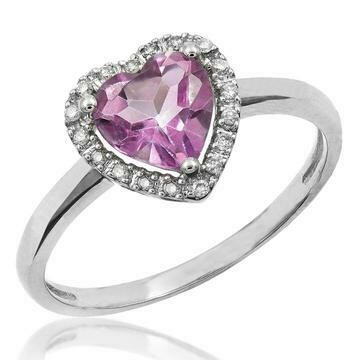 Heart Pink Topaz Ring with Diamond Halo 14KT Gold