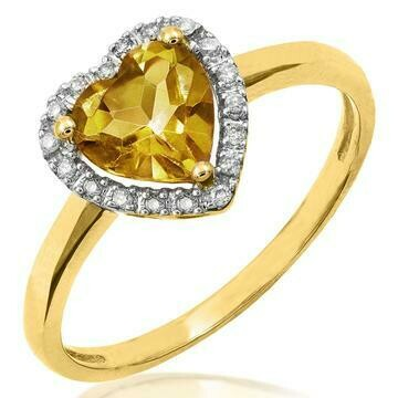 Heart Citrine Ring with Diamond Frame Yellow Gold