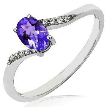 Oval Amethyst Bypass Ring with Diamond Accent White Gold