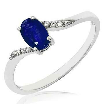 Oval Blue Sapphire Bypass Ring with Diamond Accent 14KT Gold