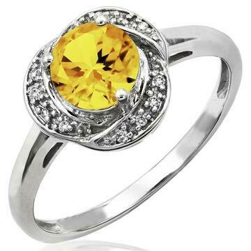Citrine Whirl Ring with Diamond Frame White Gold