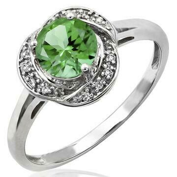 Peridot Ring with Diamond Whirl Halo 14KT Gold