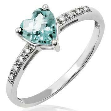 Heart Aquamarine Ring with Diamond Accent White Gold